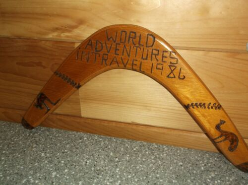 Vintage Boomerang with carvings australia 1986