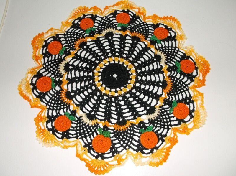New Hand Crochet Halloween Pumpkin  doily Centerpiece 13 1/2