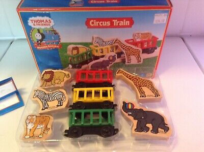 Wooden Thomas The Train Circus Train And Five Animals Complete With Box for sale  Mankato
