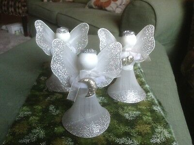 Glitter Mesh Wings (Vintage Christmas ANGELS 3 Wire Mesh Tulle Netting Wings Gown Chenille)