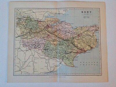 Kent, Antique County Map c1897, Brabner, Atlas, Original, England