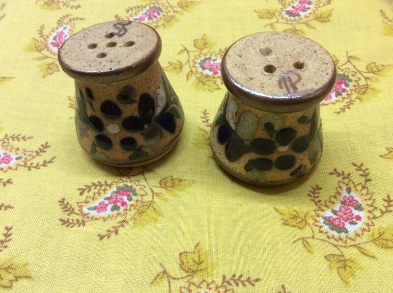 Vintage Miniature Glazed Stoneware Salt and Pepper Shaker Set, Signed
