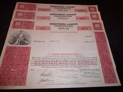 Lot Of 3 Old Collectible Western Union 1970 Vintage Cancelled Stock Certificates