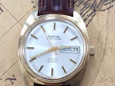 Gents Vintage Gold Plated MONTINE Of Switzerland 17j D/D Automatic Wrist Watch