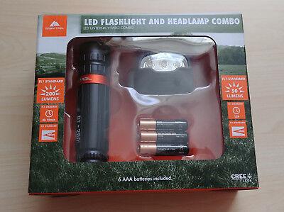 (Ozark Trail 200 Lumens CREE LED Small Flashlight & 50L Headlamp 6 AAA Batteries)
