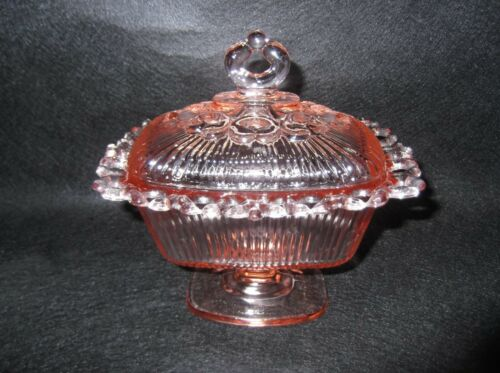 Vintage Indiana Glass Old Colony Open Lace Pedestal Lidded Bowl
