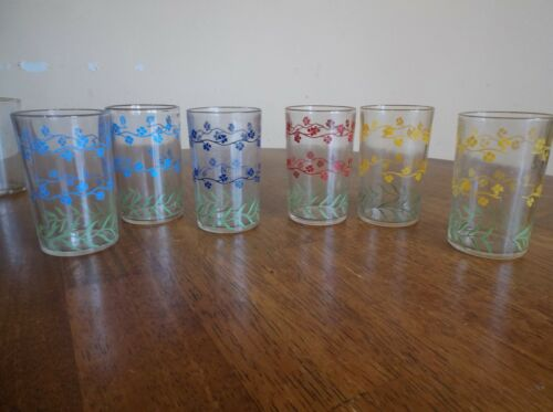 VINTAGE SET OF 6 SWANKY SWIGS SMALL FLOWER ASSORTED COLORS