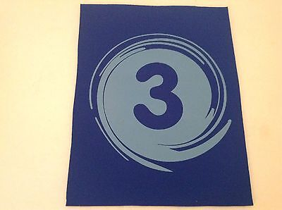 """Neoprene Sewing Patch Number 3 Swirl Royal Blue Rectangle 8"""" x 6"""" Soft"""