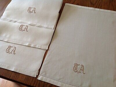 #27 Vintage Set LOT of 4 Linen Damask Hand Towels Monogram