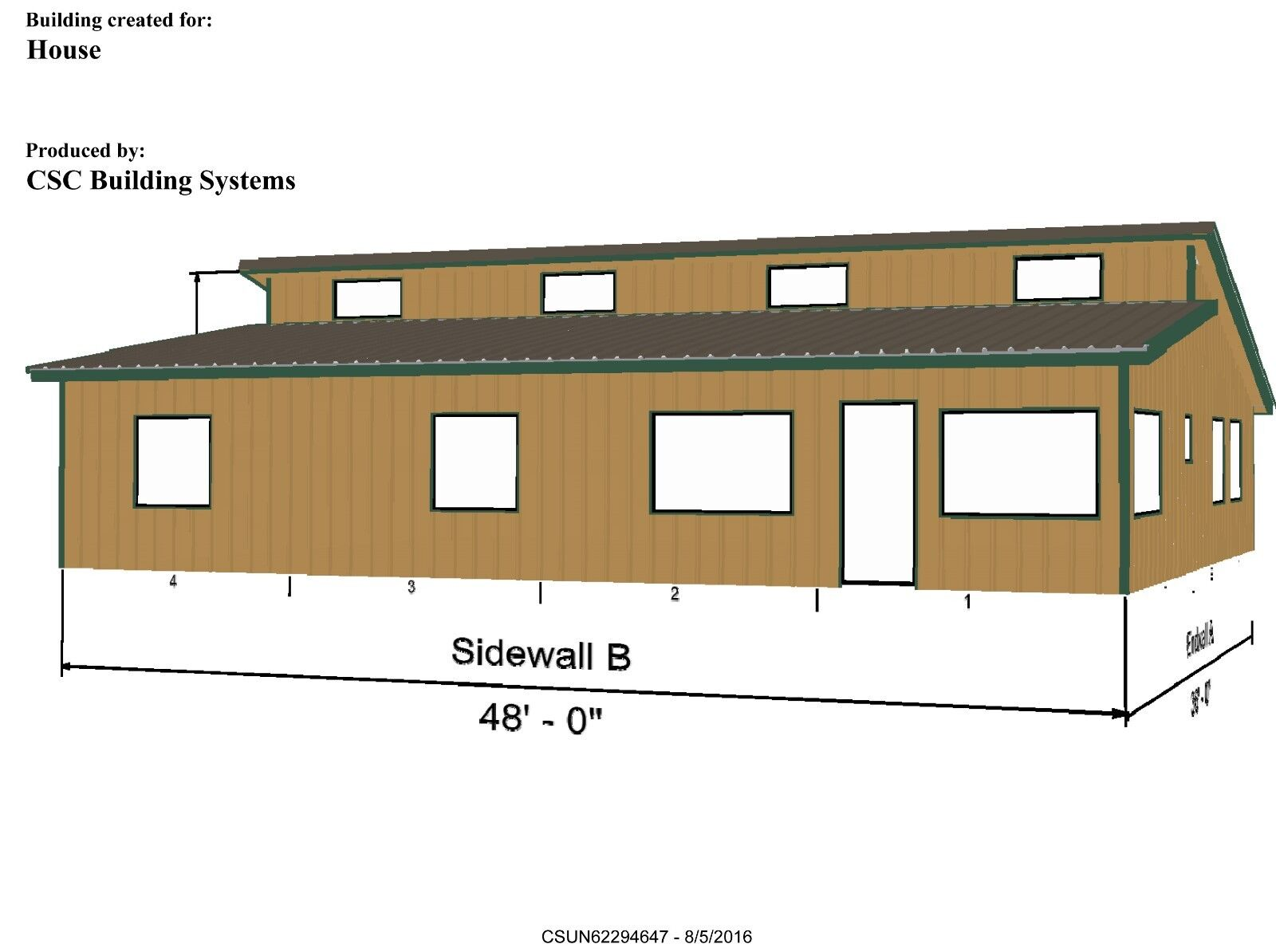 Steel Home Kit -CSC3648 - 3 BedR, 2 Bath, Inc. Roofing & Siding - 1728 sf living