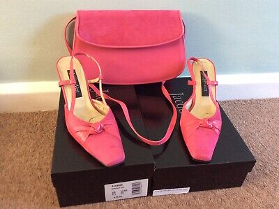 Jacques Vert Shoes 3.5/36 & Bag -Bright Pink Suede & Leather - Maraschino Range