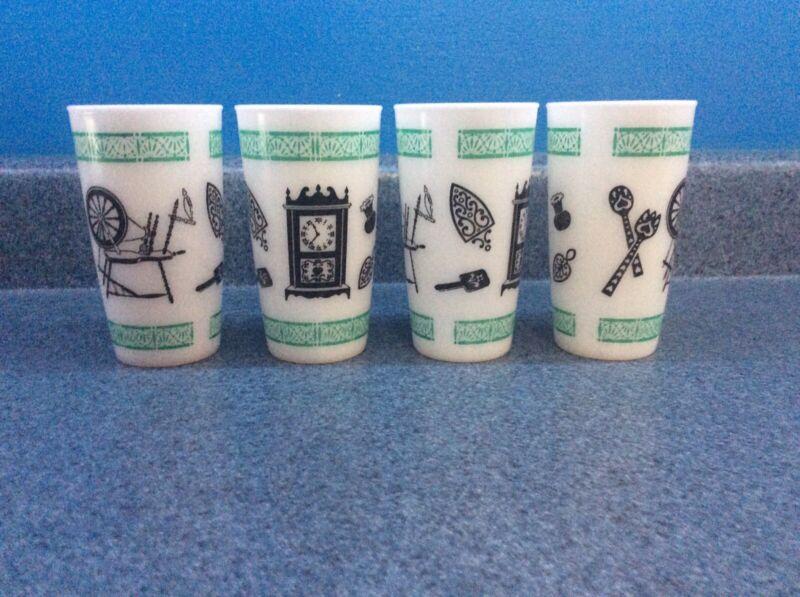 Hazel Atlas Set of 4 Glasses / Tumblers Spinning Wheel Clock Milk Glass