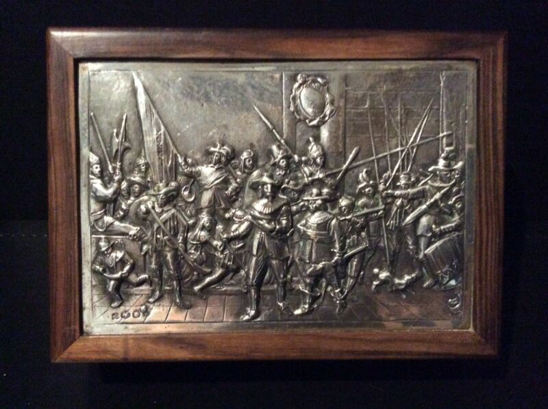 """Silver Mounted Wooden Box Depicting Rembrandt's """"Night Watch"""""""
