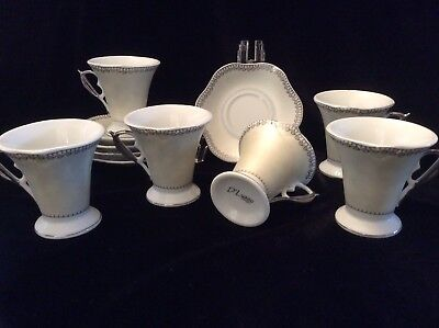 D'Lusso Demitasse Espresso 6 Cups 5 Saucers ~ SHIPS FREE