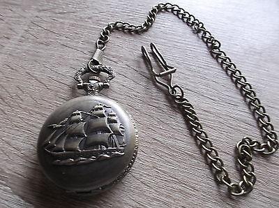 Taschenuhr mit  Segelschiff Motiv  und Kette Vintage Retro  NEUWARE