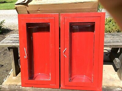 2 New Larsens Same Wall Mount Metal Fire Extinguisher Cabinets