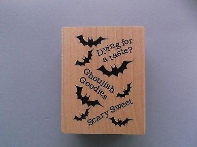 Ghoulish Goodies Halloween (INKADINKADO RUBBER STAMPS BATS GHOULISH GOODIES HALLOWEEN NEW wood)