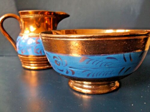 Antique Copper Lusterware Sugar and Creamer