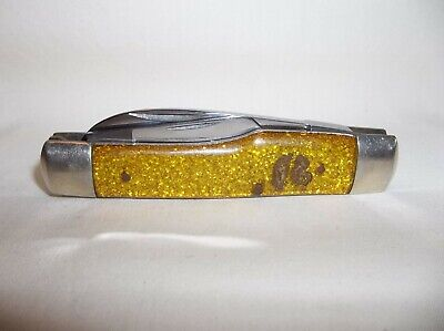 Vintage Fight'N Rooster Frank Buster Gold Flake Gunstock Whittler 3 Blade Knife