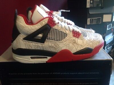 Air Jordan 4 White Laser New DS 100% Authentic Size 9 With Hat And Shirt Jordan White Hat