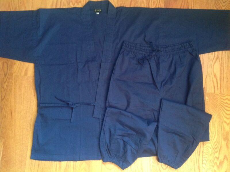 NEW Japanese SAMUE Unisex JACKET PANTS SET 100% Cotton INDIGO Kimono JAPAN Navy