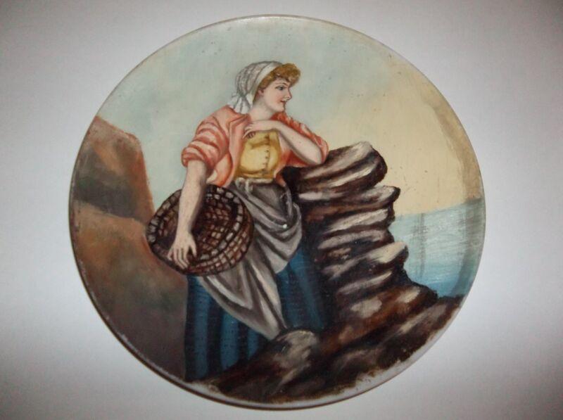 "Antique Mt Washington Glass PORTRAIT Plate 12.5"" Hand Painted Woman With Basket"