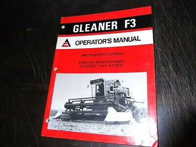 Original Allis Chalmers Gleaner F3 Self Propelled Combine Operators Manual