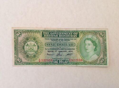 ~ 1972 British Honduras One $1 Dollar Banknote Elizabeth II P 28c