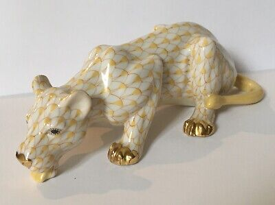 Herend Fishnet Porcelain Yellow Butterscotch Cougar Lioness Cat Figurine