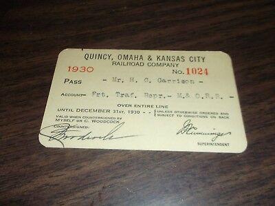 1930 QUINCY OMAHA & KANSAS CITY RAILROAD COMPANY EMPLOYEE PASS #1024](Party City Omaha)