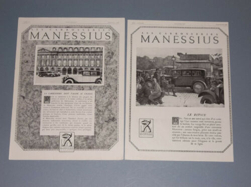 2 1928 FRENCH MAGAZINE ADS FOR THE MANESSIUS AUTOMOBILE