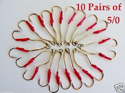 20 Assist Hooks 5/0 Gold Finis For Knife Vertical Jigs - 5 Packs 10 Pairs