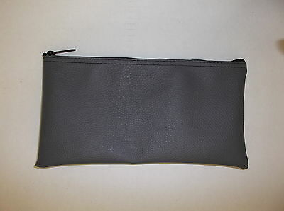 1 New Gray Vinyl Auto Upholestry Bank Deposit Money Bag Glove Box Organizer