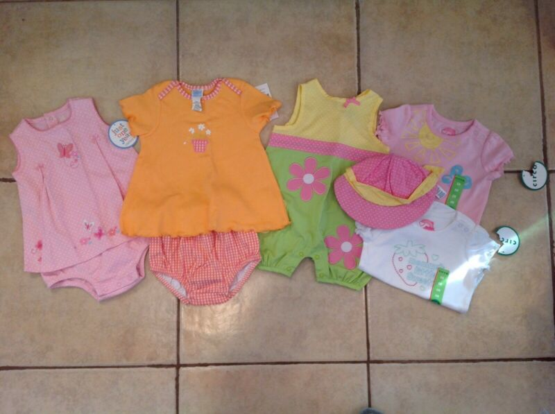 New Girls 7pc Lot Tops Pants Outfits One Pieces 6 9 12 Months Summer Spring