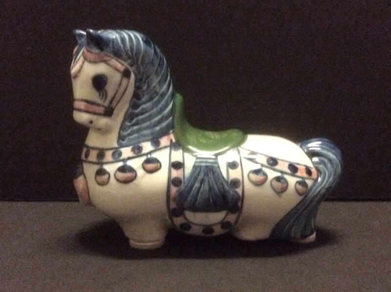Painted Horse Ceramic Blue Green Pink Off-White Artsy Coin Piggy Bank