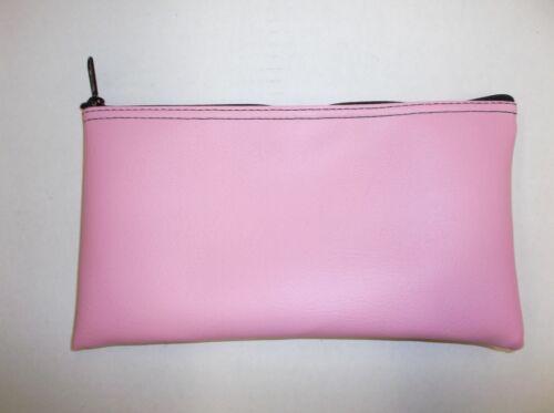 1 Brand New Premium Pink Zippered Vinyl Leather Like Bank Deposit Money Bag