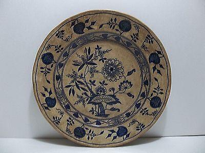 "Antique MEISSEN Wedgwood Etruria England Plate POMEGRANATE Peach BLUE ONION 9"""