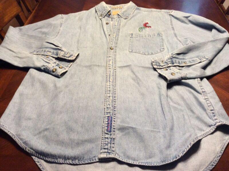 Mens Rare Vintage Bruce Springsteen Long Sleeve Denim Shirt Size L