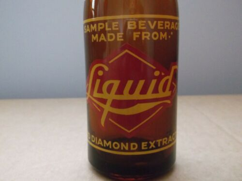 Vintage Liquid Red Diamond Extract  Amber Glass Soda Bottle,