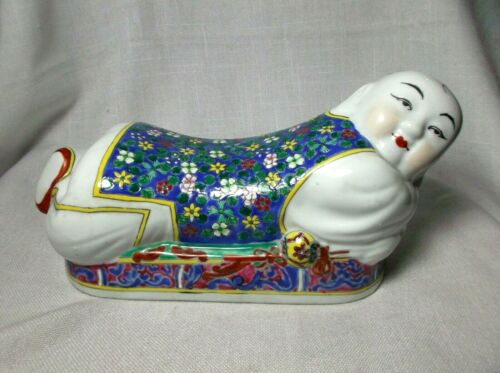 Vintage  Porcelain Chinese Ceramic Pillow Buddha Baby