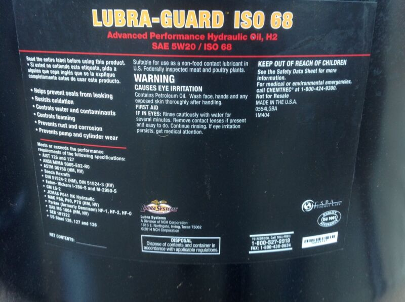 Lubra Guard ISO 68 SAE 5/20 Hydraulic Oil Drum Barrel