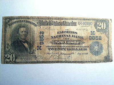 1902  20 Large Size Farmers National Bank Newcastle Indiana Twenty Dollars