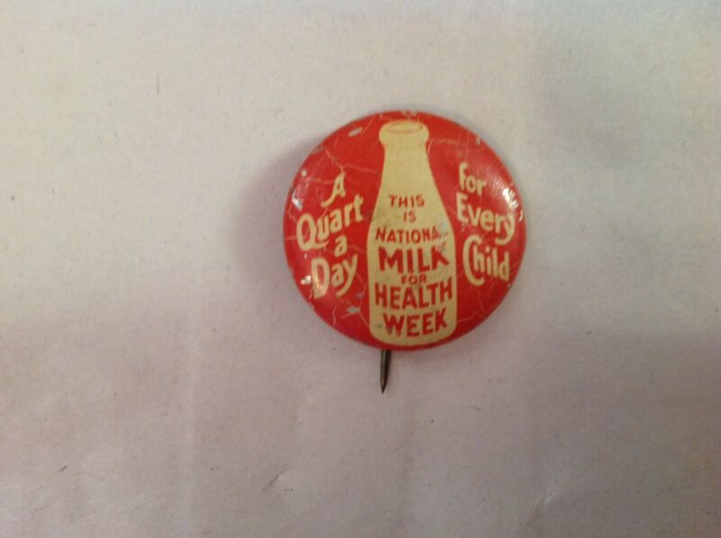 National Milk For Health Week Vintage Pinback Button