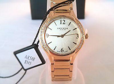 Akribos Women Gold Watch w/ Swiss Quartz Crystal Bezel XXIV AK548 NEW IN BOX
