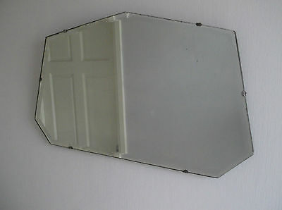 30s 40s ART DECO VINTAGE HEPTAGON LARGE FRAMELESS BEVEL EDGED WALL MIRROR