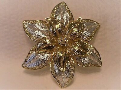 NWOT SOLID STERLING SILVER GOLD PLATED FILIGREE FLOWER PIN BROOCH SIGNED ALF 925
