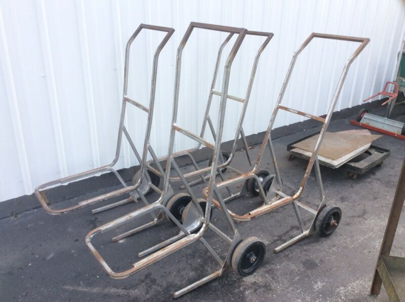 4 Vintage Steel Stacking Chair Carts On Wheels - Very Good