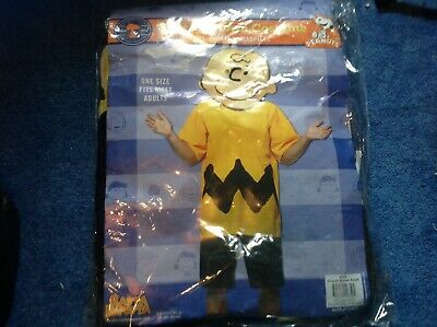 Mens Charlie Brown Costume With Oversized Foam Mask