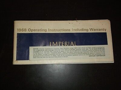 VINTAGE 1968 IMPERIAL OPERATING INSTRUCTIONS INCLUDING WARRANTY MANUAL BROCHURE
