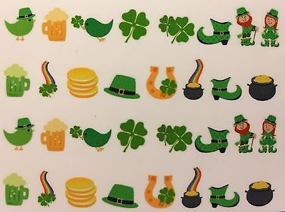Nail Art Water Decals St. Patrick's Day Four Leaf Clover Pot of Gold Leprechaun